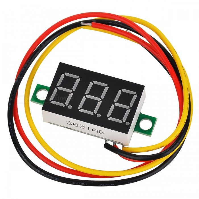 "V20D Tri-Wire 0.36"" LCD 3-Digit DC Digital Voltmeter - Black + White (0~100V)"