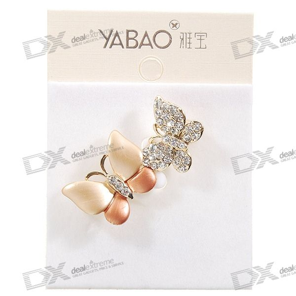 Charming Crystal Butterflies Brooch