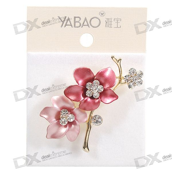 Charming Crystal Pink Plum Blossoms Brooch