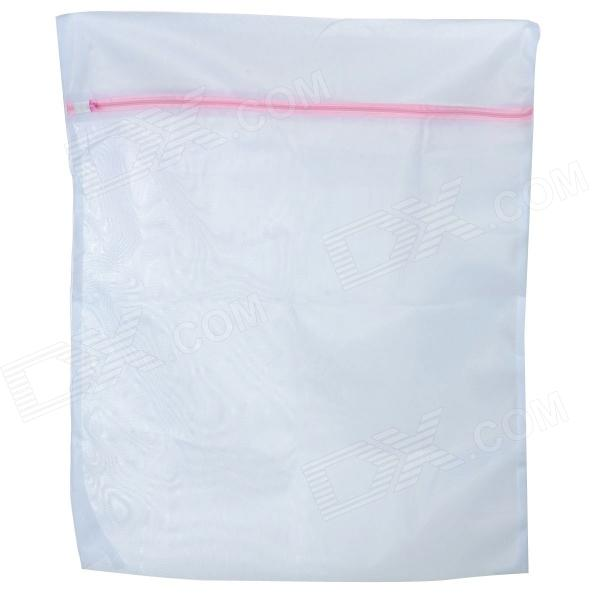High Quality Zipper Mesh Polyester Laundry Clothes Washing Bag White Size L