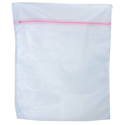 High Quality Zipper Mesh Polyester Laundry Clothes Washing Bag - White (Size L)