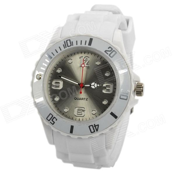 Sport Waterproof Rotatable Acrylic Dial Silicone Band Quartz Analog Wrist Watch - White + Silver for sale for the best price on Gipsybee.com.