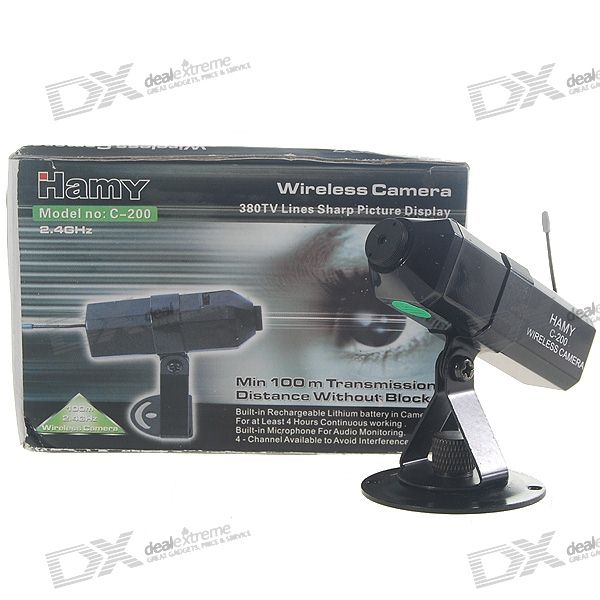 HAMY 2.4GHz 4-CH Rechargeable Mini CMOS Wireless Surveillance Security Camera - PAL (100~240V AC)