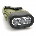 Solar Hand Cranked 6lm 3-LED White Flashlight w/ Buckle - Army Green