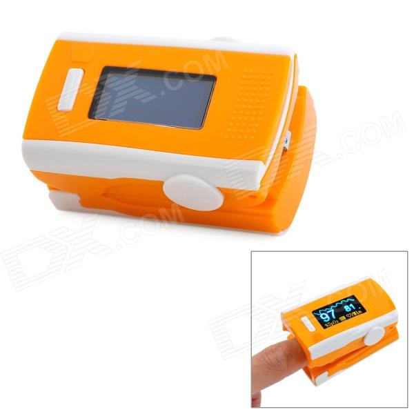 12-LCD-Digital-Clip-On-Finger-Pulse-Oxygen-Blood-Oximeter-w-Alarm-Orange-2b-White-(2-x-AAA)