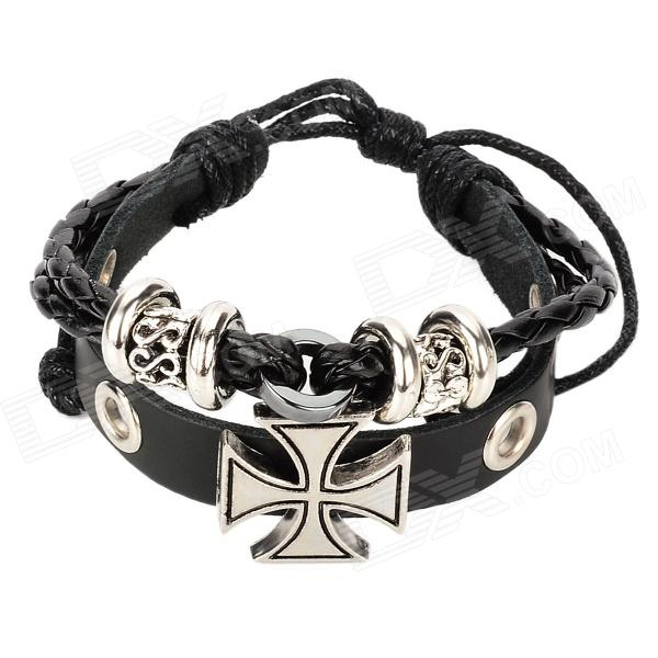 Rome Style Cross Cow Leather Bracelet - Black + Silver