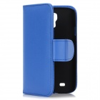 Protective Flip-Open PU Leather Case for Samsung Galaxy S4 i9500 - Blue