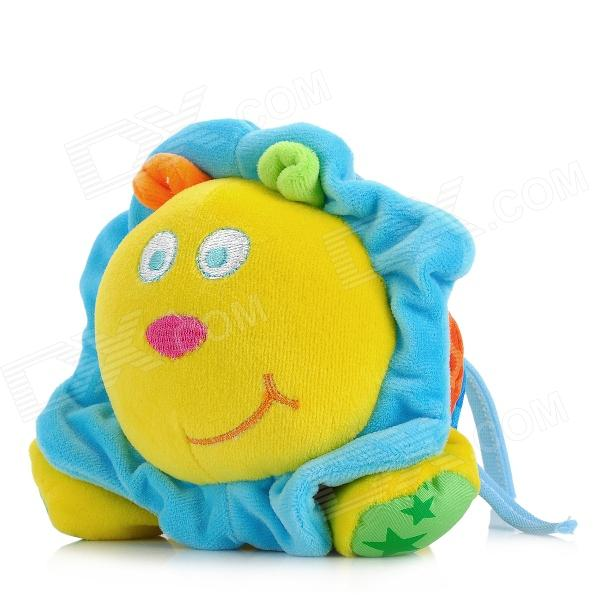 Cute Lion Shaped Pulling Vibration Sound Bed Hanging Toy for Baby - Blue + Yellow