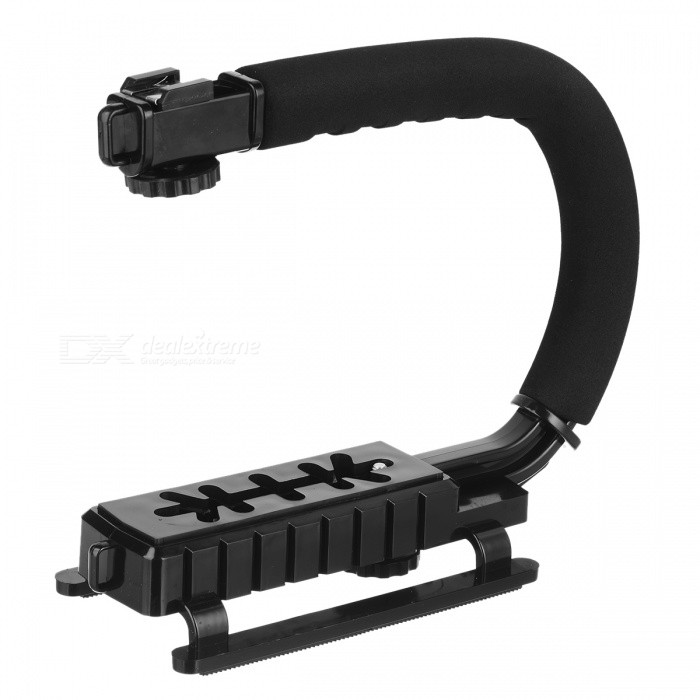 U-Shape Handheld DV / DSLR / Camcorders / Speedlite Holder Bracket - BlackTripods and Holders<br>Form  ColorBlackMaterialABSSocketTypeOthersRetractableNoOther FeaturesStabilizePacking List<br>