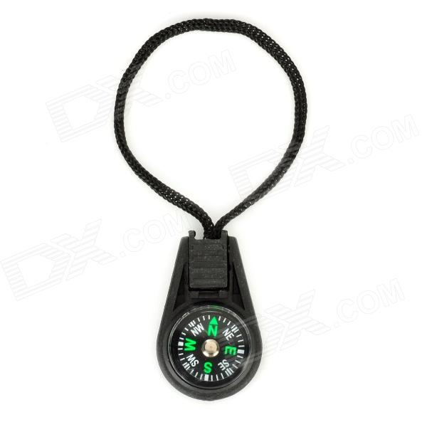 Portable Outdoor Mini Analog Compass w/ Strap - Black