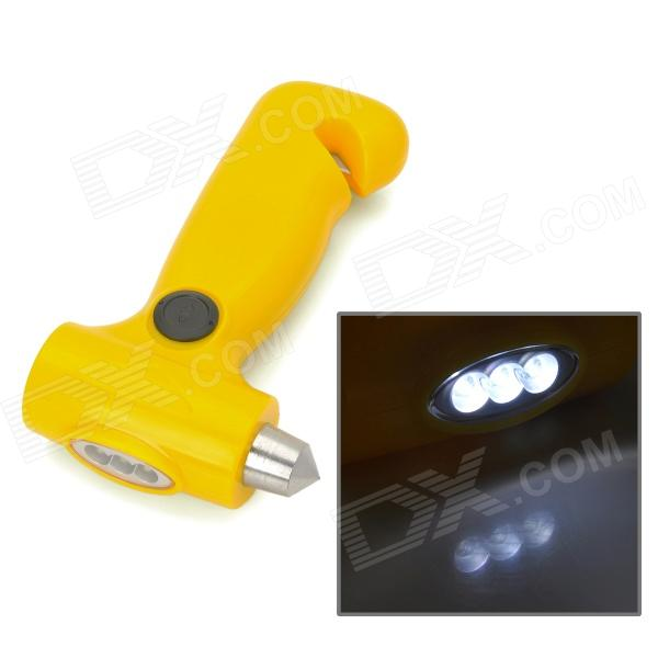2-in-1 3-LED Manual Emergency Flashlight + Safety Hammer for Outdoor Activities - Yellow