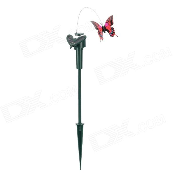 Bon Solar Powered Flying Butterfly Garden Decoration   Red + Black + Deep Green