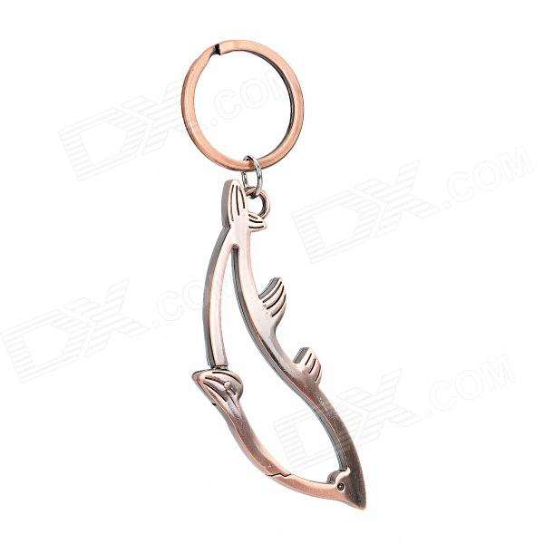 329 Dolphin Style Zinc Alloy Bottle Opener Keyring - Copper Color