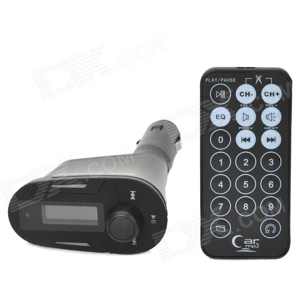 1.0 Car MP3 Player w/ FM Transmitter / SD Car Slot / USB - BlackFM Transmitters and Players<br>ModelFMQuantity1Form  ColorBlackShade Of ColorBlackScreen Size1.0ScreenScreen DisplayTransmitting Frequency,Sound ModeSupported LanguagesEnglishPower Off Memory Function YesFM Frequency Range87.5~108.0FM Transmit Distance8~10VideoNoAudio FormatsMP3,WMARemote ControlYesSNR85Interface/PortUSB 2.0,SD card slot,3.5mmStorage InterfaceSDBuilt-in Flash Memory0External Memory Max. Support1Power Supply12Other FeaturesBlueCertificationCEPacking List<br>