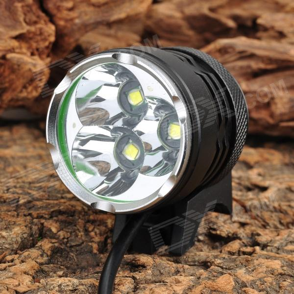 B31 1800~2500lm 3-Mode White Bicycle Light w/ 3 x Cree XM-L T6 - Black (4 x 18650)Bike Lights<br>ModelB31Quantity1ColorBlackMaterialAluminum alloyEmitter BrandCreeLED TypeXM-LEmitter BINT6Color BIN Cold White Number of Emitters3Working Voltage8.4 VBattery Configuration4 x 18650 (4400mAh, included)Circuitry8.8ABrightness1800~2500 lmRuntime3 hoursNumber of Modes3Mode ArrangementHi &gt; Lo &gt; Fast strobeMode MemoryNoSwitch TypeForward clickySwitch LocationTailcapLensGlassReflectorAluminum Smooth / SMOFlashlight MountingHandlebar and helmetBeam Range300mFeaturesColor temperature: 5000K; Waterproof: IP6; When indicator lights on red and then automatically shut down, please dont open the headlamp, which will damage battery.Packing List1 x Bicycle light (110cm-cable)&amp;nbsp;1 x 2-flat-pin plug power charger (100~240V / 100cm)&amp;nbsp;2 x Rubber rings &amp;nbsp;1 x Battery pack (15cm-cable)&amp;nbsp;1 x Battery case<br>