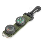 Outdoor Camping Compass + Thermometer w/ Buckle / Keychain - Army Green + Black