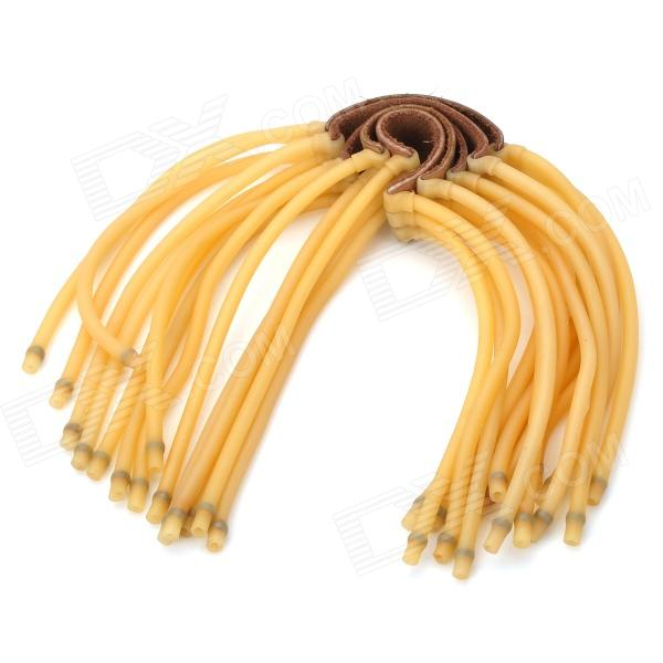 6-String Rubber Bands for Slingshot - Brown + YellowModelNQuantity5ColorBrownMaterialRubberFunctionsReplaceForm  ColorBlackSizeLPacking List<br>
