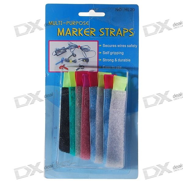 Color-coded Reusable Nylon Cable Ties and Marker Strappers (8-Pack)