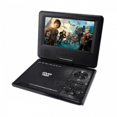 """NS-758 Portable 7"""" Rotational Rechargeable Multi-Media DVD Player w/ SD - Black + Silver"""