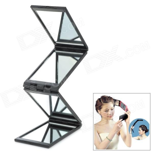 Portable 4 Fold Folding Cosmetic Mirror Black Free Mirrors Full Length