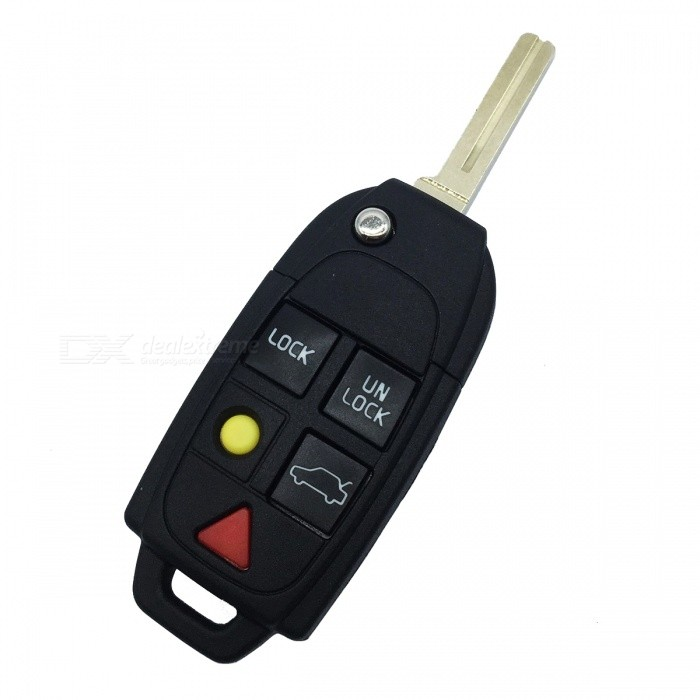 Buy Replacement 5-Button Remote Key Cover Shell Case for Volvo - Black + Yellow + Red with Litecoins with Free Shipping on Gipsybee.com