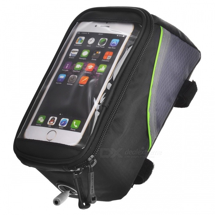 ROSWHEEL 12496L-G5 5.5 Bike Bag w/ 3.5mm Earphone Hole - BlackBike Bags<br>Model12496LQuantity1 DX.PCM.Model.AttributeModel.UnitForm  ColorBlack + GreenMaterial600D polyesterTypeOthers,Tube BagCapacity1.5 DX.PCM.Model.AttributeModel.UnitWaterproofYesBest UseCyclingPacking List1 x Top tube bag 1 x 3.5mm audio male to female cable (28cm)<br>