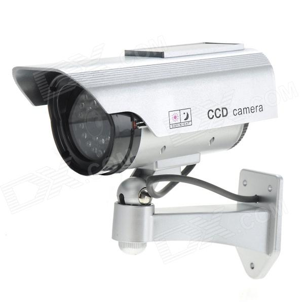 Solar Power Dummy Realistic Surveillance Security Camera w/ 1-LED Red Flash Light - Silver