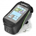 Roswheel 12496M-G5 Touch Screen Bag for Cell Phone w/ Earphone Hole - Black + Green