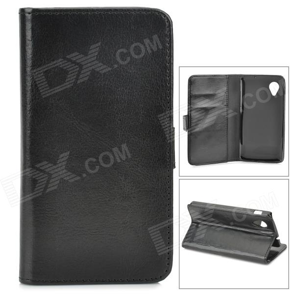 Protective PU Leather Case w/ Card Slot for LG Nexus 5 E980 / D820 - Black