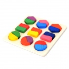 A075 Geometric Figure Wooden Education Toy for Kids - Red + Green + Yellow + Purple + Blue