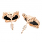 Cat Style Gold-Plated Alloy + Rhinestone Earrings - Black (Pair)