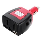 Multifunktions-12V DC bis 220V AC Auto Power Inverter - Schwarz + Rot