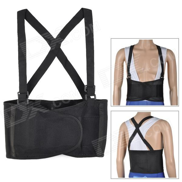Rubber + Nylon Fabric Protective Waist Support Band w/ Detachable Strap - BlackModelA092Form  ColorBlackMaterialRubberQuantity1Packing List1 x Waist band<br>