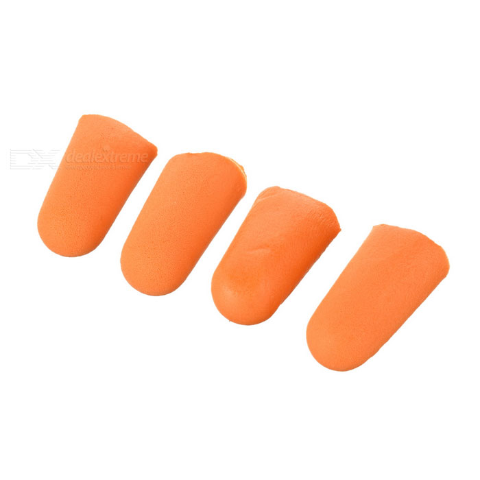 Feather-Weight Memory Foam Noise Isolation Earplugs - Orange (4-Pack)