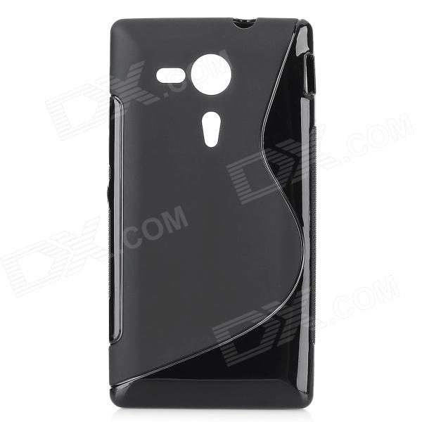 Buy Protective S Style Silicone Back Case for Sony M35H - Black with Litecoins with Free Shipping on Gipsybee.com