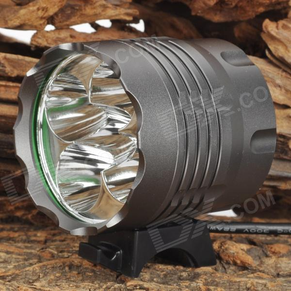 NEW-377 2000lm 3-Mode White Bicycle Light Headlamp w/ 5 x Cree XM-L T6 - Grey (4 x 18650)Bike Lights<br>ModelN/AQuantity1 DX.PCM.Model.AttributeModel.UnitForm  ColorWhiteMaterialAluminumEmitter BrandCreeLED TypeXM-LEmitter BINT6Number of Emitters5Color BINWhiteWorking Voltage   3.7~14.8 DX.PCM.Model.AttributeModel.UnitPower SupplyN/ACurrent3.2 DX.PCM.Model.AttributeModel.UnitActual Lumens1600~2000 DX.PCM.Model.AttributeModel.UnitRuntime3 DX.PCM.Model.AttributeModel.UnitNumber of Modes3Mode ArrangementHi,Low,SOSMode MemoryNoSwitch TypeForward clickyLensGlassReflectorAluminum SmoothFlashlight MountingHandlebarSwitch LocationTailcapBeam Range300 DX.PCM.Model.AttributeModel.UnitForm  ColorWhitePacking List1 x Headlamp (50cm-cable)1 x Battery pack (70cm-cable)1 x Headband (circumference: 40cm)2 x Rings 1 x 2-flat-pin plug power charger (100~240V / 100cm)<br>