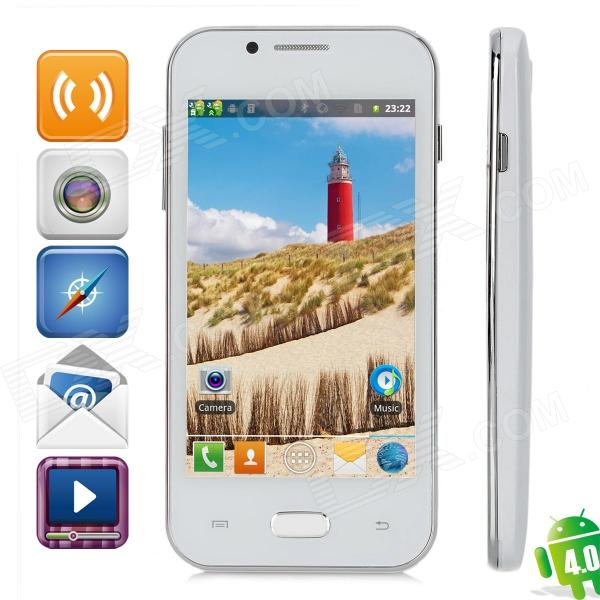 "Z7 Dual-Core Android 4.0 GSM Bar Phone w/ 4.0"" Capacitive Screen, Quad-Band and Wi-Fi - White"