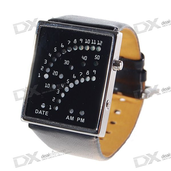 Leather Band 29-LED Dot-Matrix Fashion Wrist Watch