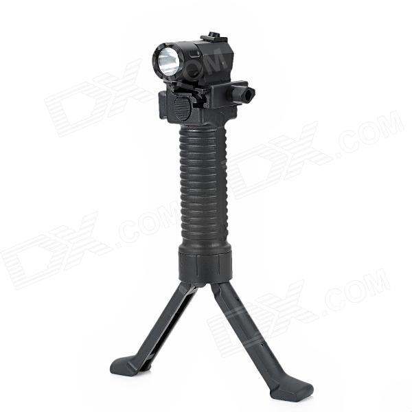 180lm 2-Mode White Flashlight w/ Cree Q3, Retractable Bipod Hand Grip for 20mm Gun - Black (1 x CR2)