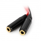 3.5mm 1 a 2 macho a Cable Mujer plana Audio - Negro + Rojo (20 cm)
