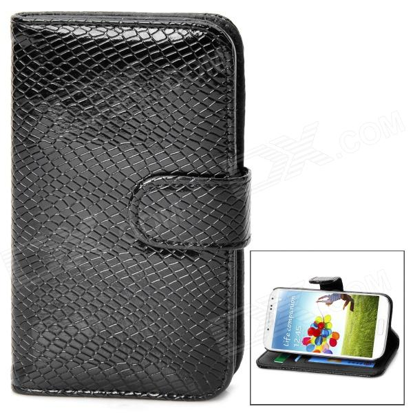 Käärmeennahka kuvio Suojaava PU Leather Flip-Open Case for Samsung Galaxy S4 / i9500 - Musta