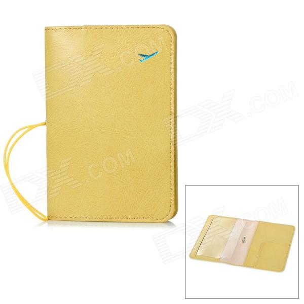 Protective PU Leather Passport / Card Holder Case - Yellow