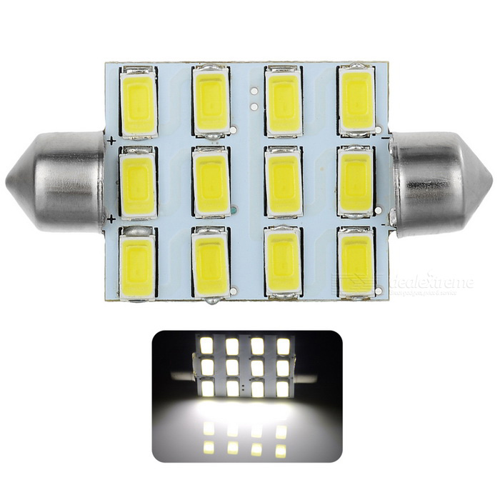 Festoon 42mm 6W 540lm 12-SMD 5630 LED White Light Car Reading Lamp / License Plate Light - (12V)Car Interior Lights<br>Quantity1MaterialPCBForm  ColorWhiteEmitter TypeLEDChip TypeOtherTotal Emitters1Color BINCold WhiteColor Temperature6500~7500ApplicationLicense plate light,Reading lampPacking List1 x LED car light<br>