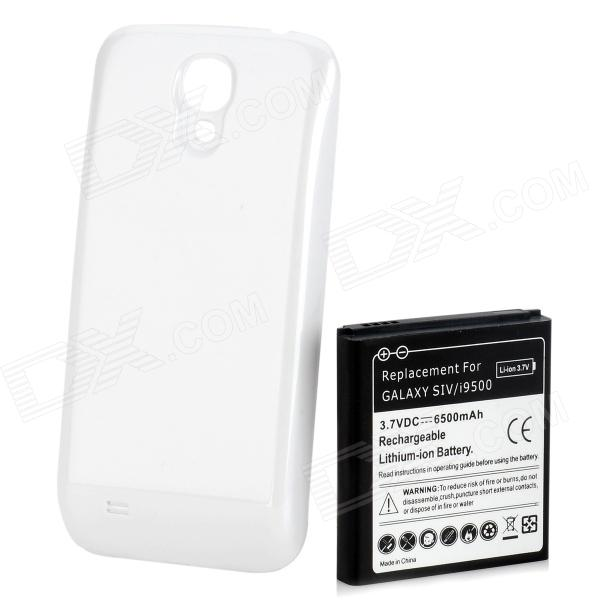 Replacement 6500mAh Dual Core Extended Battery w/ Back Cover for Samsung Galaxy S4 i9500 - White