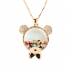 Cute Crystal Rhinestone Bear Pendant Alloy Necklace - Golden