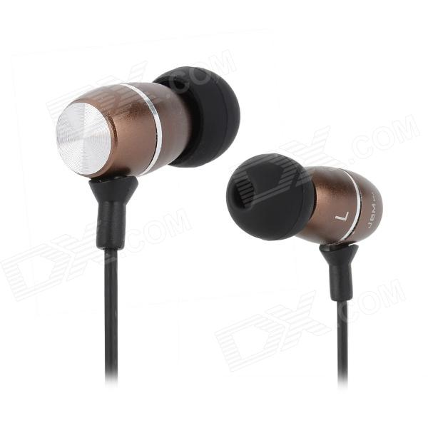 JBM MJ100 Stylish In-ear 3.5mm Round Head Connector Headset / Earphone - Brown + Black (120cm)