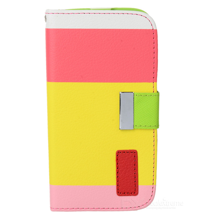 Protective PU Leather Case w/ Hand Strap for Samsung Galaxy S4 i9500 - Yellow + Red + Pink + GreenLeather Cases<br>ModelsSamsungMaterialLeatherForm  ColorWhiteQuantity1Compatible ModelsSamsungOther FeaturesProtectsPacking List1 x Protective case1 x Hand strap (15cm)<br>