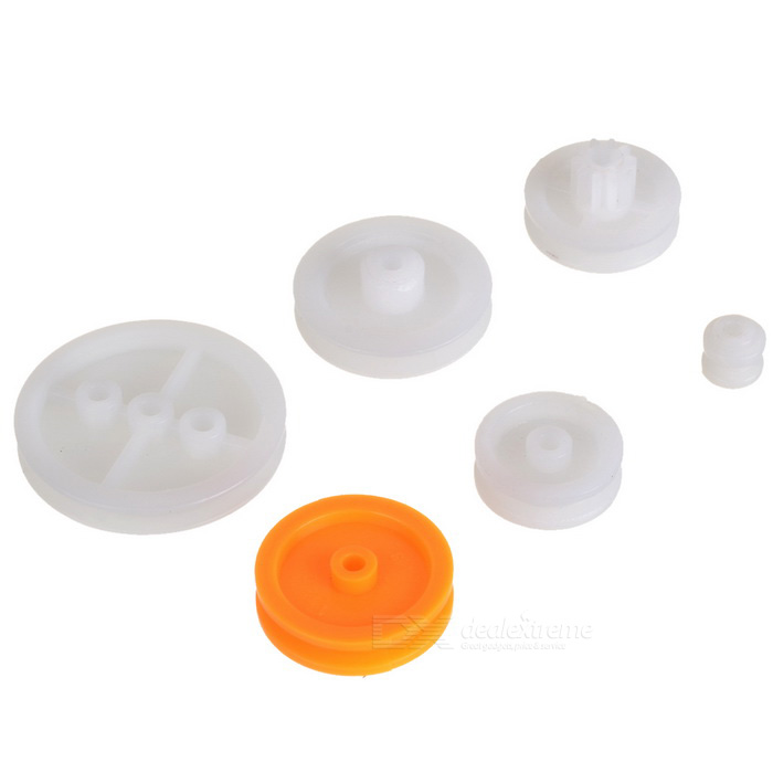 P-6 Plastic DIY Belt Drive Gear Pulley Set for R/C Cars / Airplanes - White (6 PCS)