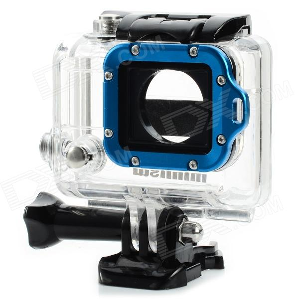 C-3A1 45m Waterproof Case w/ Aluminum Alloy Strap Ring / Glass Lens for Gopro Hero3 / 3+Bags &amp; Cases<br>ModelC-3A1Quantity1 DX.PCM.Model.AttributeModel.UnitForm  ColorBlack + BlueMaterialABS + acrylic + glass + aluminum alloyCompatible ModelsGoPro Hero 3Water ResistantOthersAnti-ShockYesSizeFree SizeDimension8.5 x 8.1 x 5.2 DX.PCM.Model.AttributeModel.UnitInner Dimension7 x 5.5 x 3cmOther FeaturesThe best partner for your Gopro Hero3; Individual colorful strap ring make your gopro more attractive and unique; Waterproof: 45m; High transmittance and coated glass lens ensure the maximum sharp and clear image above and below water; Compatible with all HERO3 cameras; Not for Hero2 cameras.Shade Of ColorBluePacking List1 x Case<br>