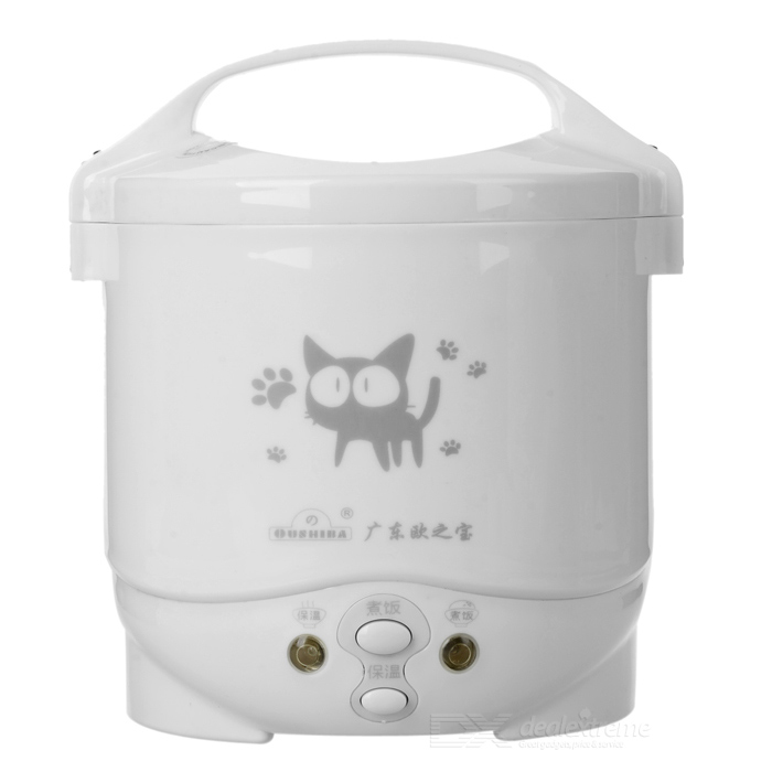 C2A Cute Cat Pattern Mini Electronic Rice Cooker - White + Black
